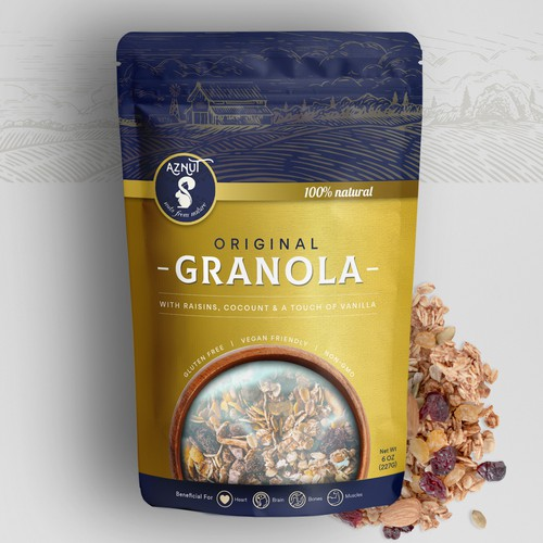 Granola packaging with the title 'Granola Pouch Packaging Design'