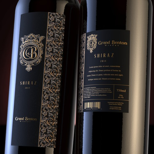 Wine design with the title 'Luxury wine label design'