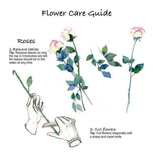 Hand-painted artwork with the title 'Flower Care'