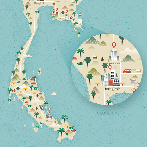 Website illustration with the title 'Thailand Map'