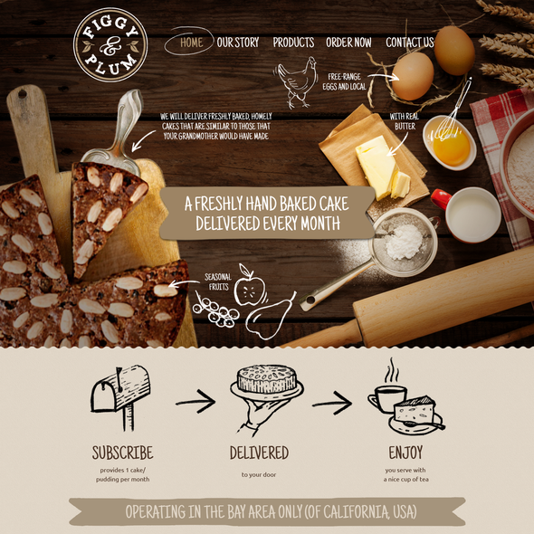 Rustic website with the title 'Online brand identity for baked good subscription sevice'