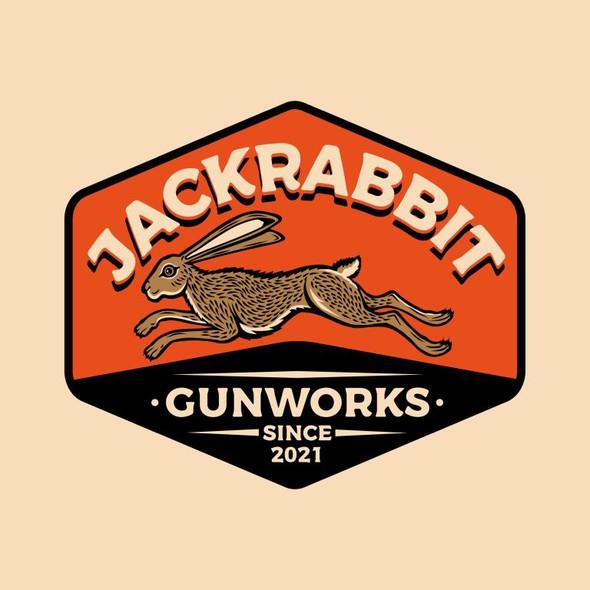 Rabbit design with the title 'Jackrabbit Gunworks Logo Design'