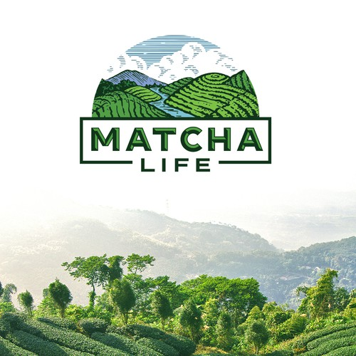 Green design with the title 'Branding for Matcha company'
