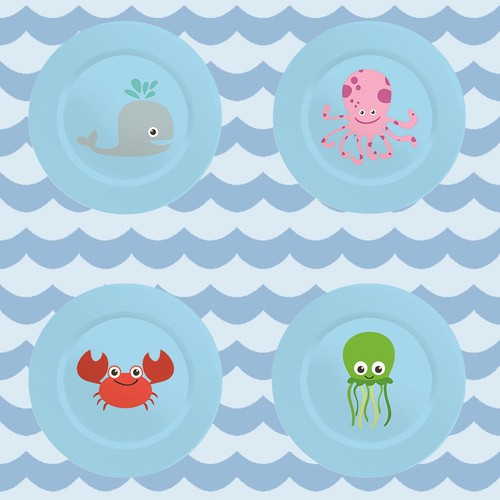 Tableware design with the title 'Sea Animals'