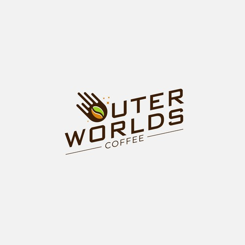 Comet design with the title 'Pictorial+Wordmark to Outer World Coffe'