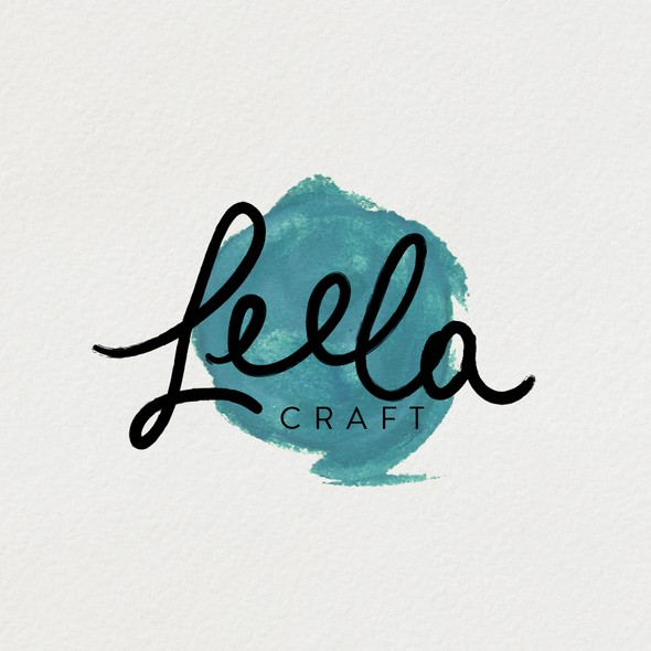 Turquoise design with the title 'Hand painted logo for scrapbooking business'