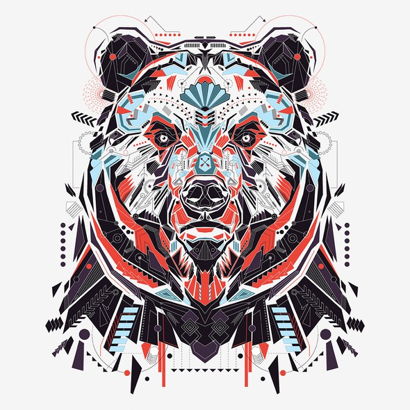 Shape illustration with the title 'Grizzly Illustration'
