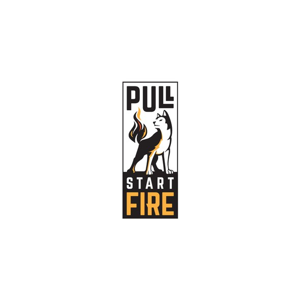 Husky logo with the title 'Pull start fire'