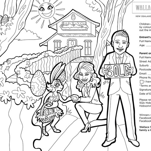 Real estate illustration with the title 'Easter Coloring Book Page'
