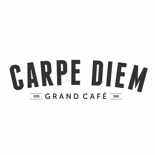 Music brand with the title 'New Brand Identity for 'Carpe Diem, Grand Café'