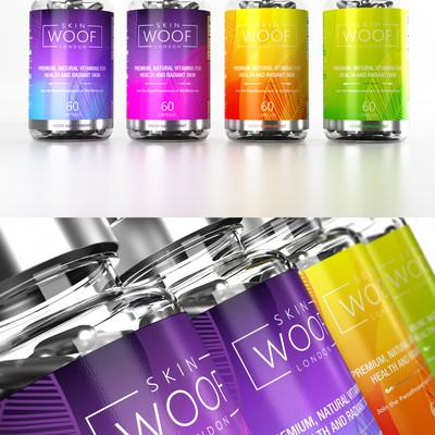 colorful, vibrant bold supplement labels