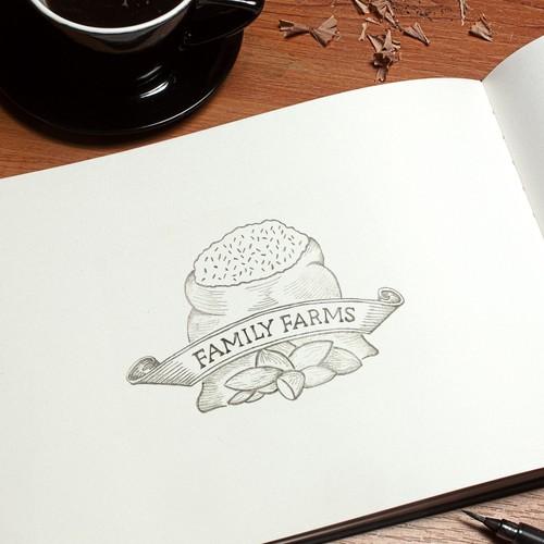 Rice design with the title 'Organic farm logo'