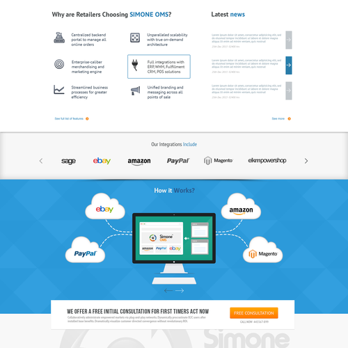 Cloud computing design with the title 'SimoneOMS landing page'