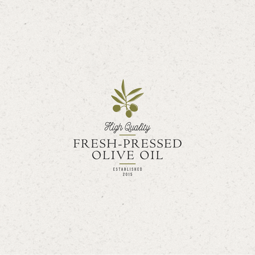 Olive oil design with the title 'Logo for Fresh-Pressed Olive Oil'