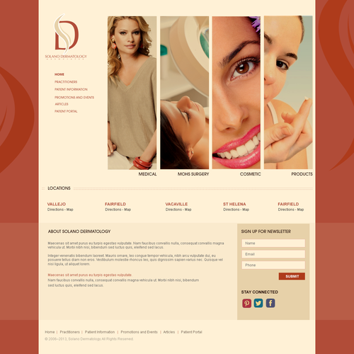 Women website with the title 'Web Design For Solano Dermatology'