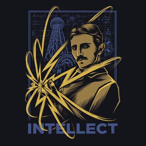 Design with the title 'Nikola Tesla'