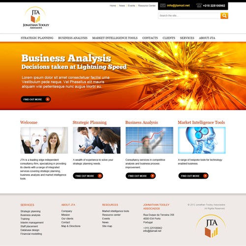 Bright website with the title 'Jonathan Tooley Associados - business website'