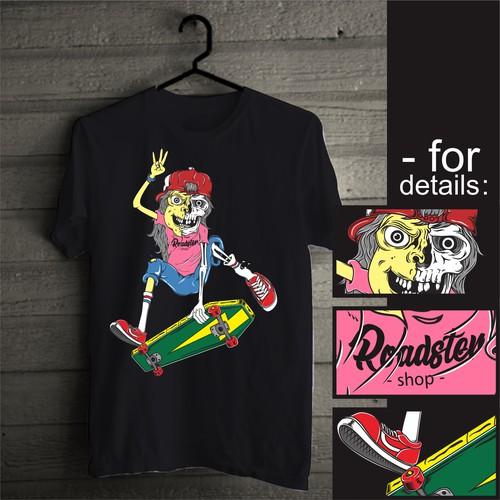 Skate t-shirt with the title 'skull skater illustration'