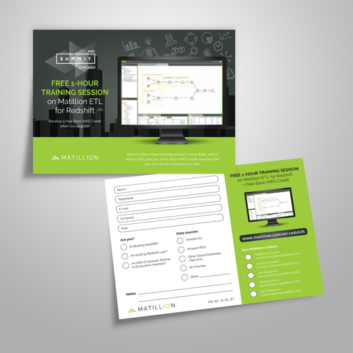 Training design with the title 'Postcard design for Matillion'