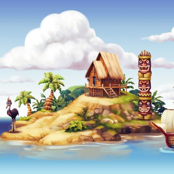Ship artwork with the title 'Tropical Island Illustration'