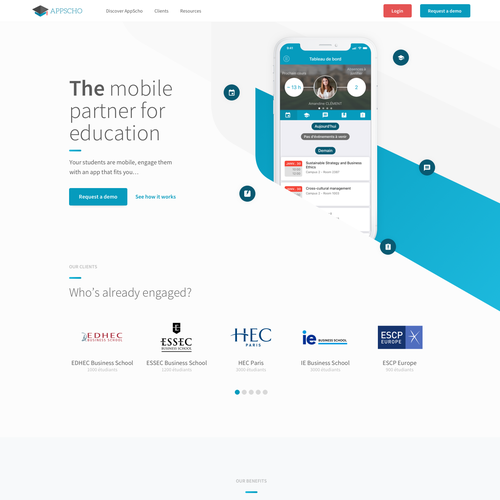 Branding website with the title 'Modern digital design for an educational app'