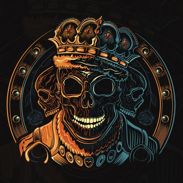 Orange t-shirt with the title 'Cool Skull Design for Men's TShirt'