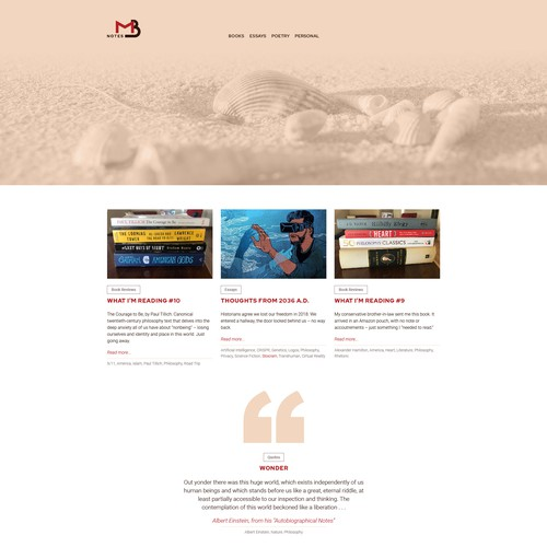 Simple website with the title 'Website design for blog on writing'