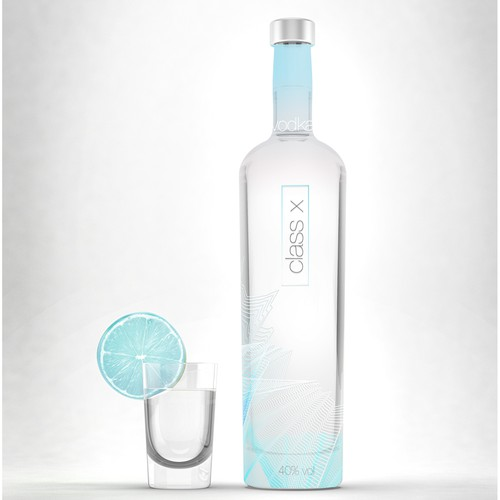 Gradient packaging with the title 'Vodka Bottle Design'