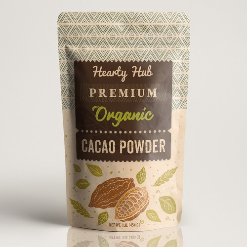 Sustainable packaging with the title 'Premium organic cacao powder'