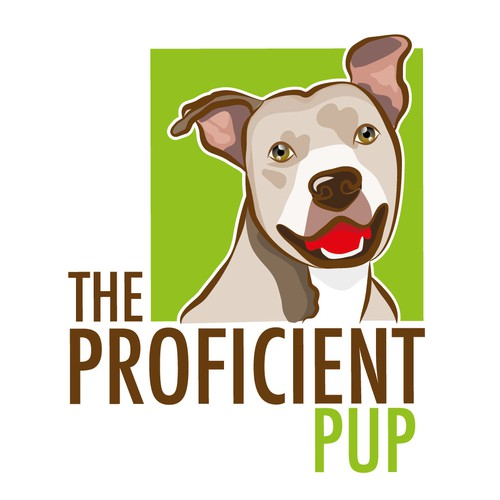 Pitbull design with the title 'The Proficient Pup - Dog Face Logo'