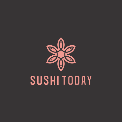 Sushi bar logo with the title 'Adjusted the existing logo.'