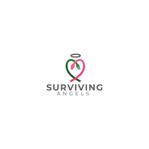 Cancer ribbon logo with the title 'Surviving Angels'
