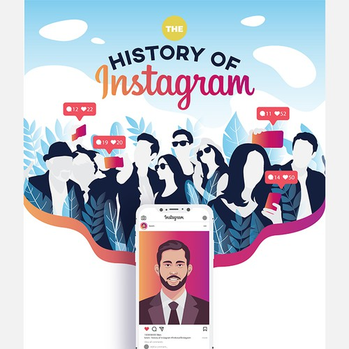 History design with the title 'The story of Instagram'