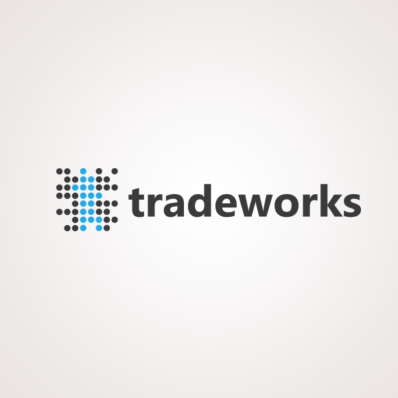 Black and blue logo with the title 'tradeworks'