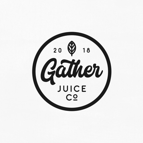 Hand lettering design with the title 'Hand Lettering Logo for Gather Juice co'
