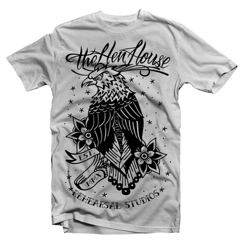 Eagle t-shirt with the title 'Traditional eagle flash tattoo design'