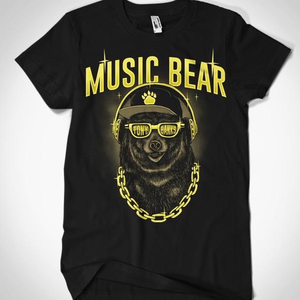 Hand-drawn t-shirt with the title 'Music Bear T-shirt for Hip-Hop Artist'