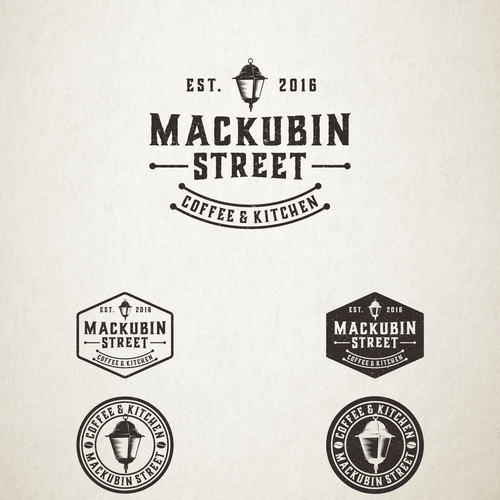 Emblem brand with the title 'Vintage logo for Mackubin Street Coffee & Kitchen'