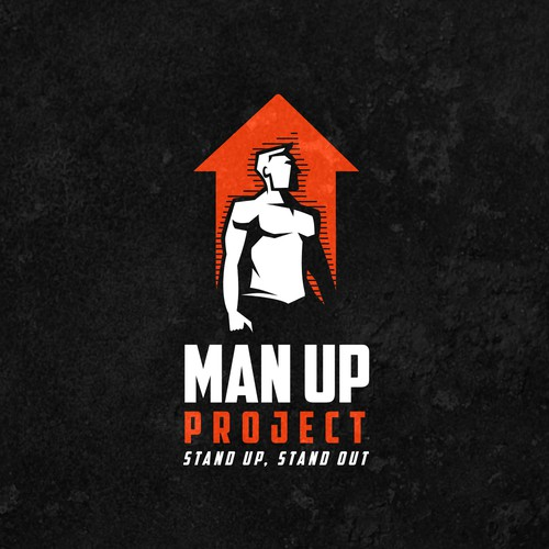 Shadow logo with the title 'Bold logo for Man Up Project'