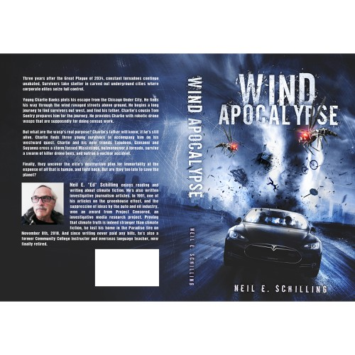 Dystopian book cover with the title ''Wind Apocalypse' book cover'
