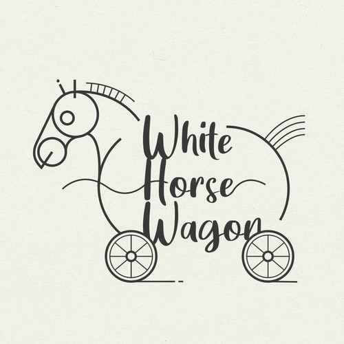 Wagon logo with the title 'logo design for white horse wagon'