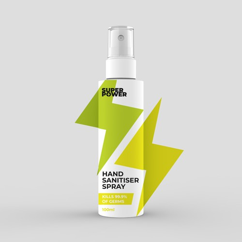 Spray bottle packaging with the title 'Hand Sanitiser Spray'
