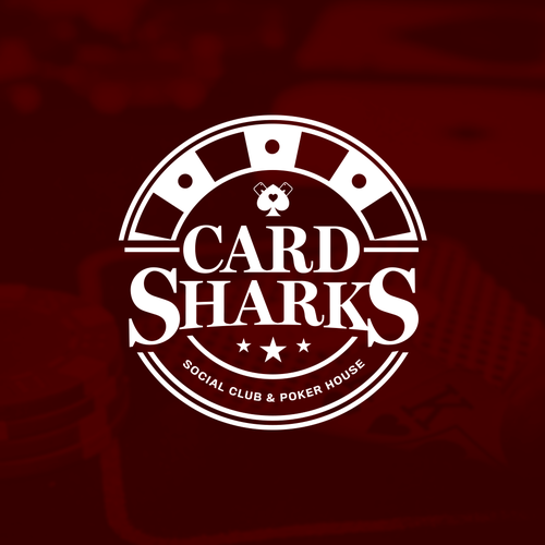Poker chip design with the title 'Card Sharks Logo'