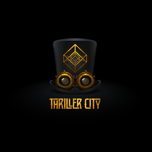 Steampunk logo with the title 'logo for thriller city'
