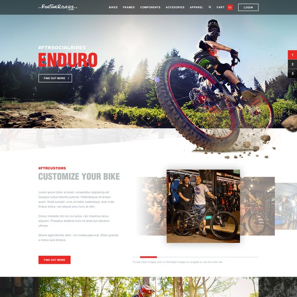 Rider design with the title 'For The Riders - Australias no.1 Mountain Bike Retailer'