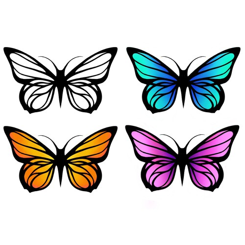 Butterfly illustration with the title 'Butterfly, vector illustration'