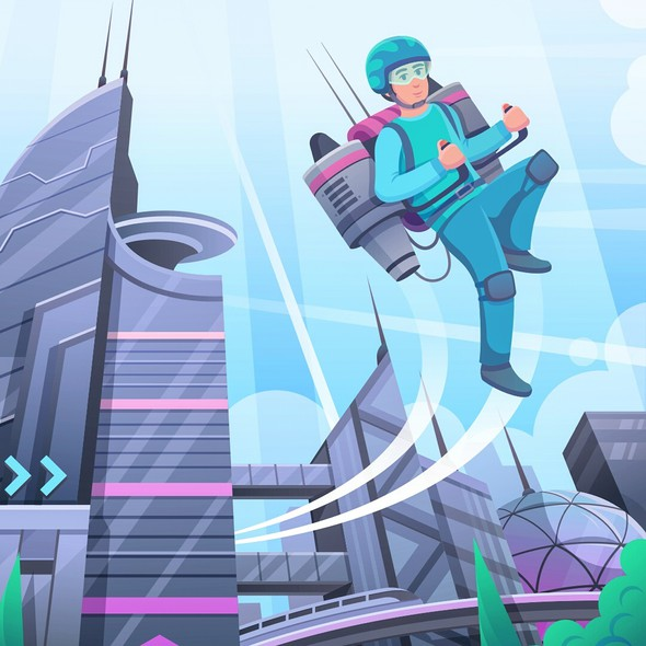 Future illustration with the title 'Game Background Illustration'