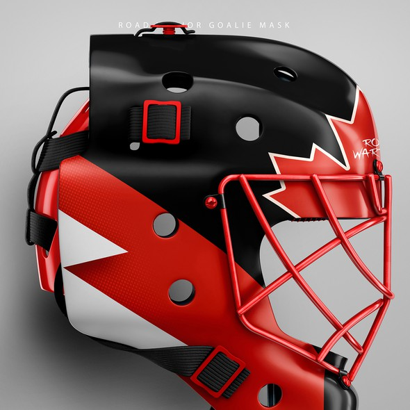 CorelDRAW artwork with the title 'Road Warrior Goalie Mask'