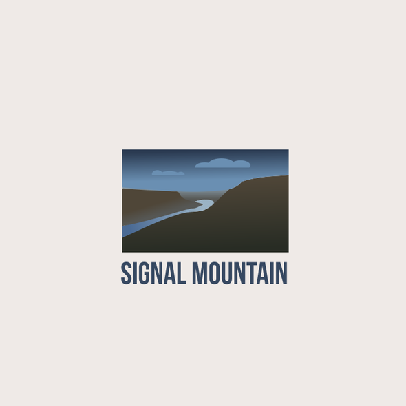 Blue and brown logo with the title 'Signal Mountain'