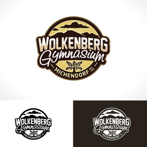 Hexagon logo with the title 'Wolkenberg Gymnasium'